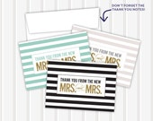 Gold Glitter Mrs.+Mrs. - Thank You Notes | 3.5x5 | folded