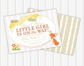 Woodland Creatures Baby Girl Shower Invite | 5x7 | Double Sided