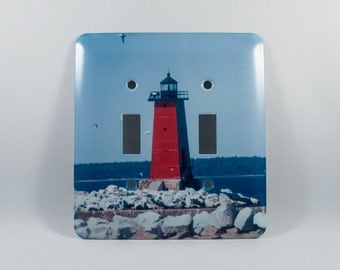 Sale 50 pct off Light Switch Cover, Manistique Lighthouse Michigan Design, Home Décor, Photograph, Deep Red, Blue