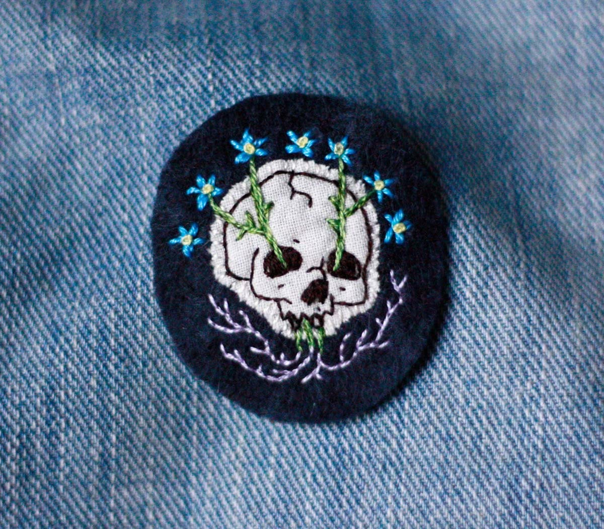 Forget-Me-Not Hand Embroidered Patch