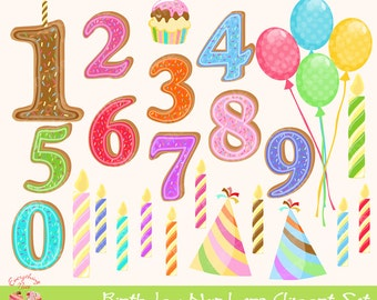 Birthday Numbers Clipart Set