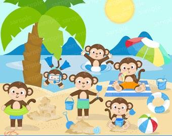 Cute Monkeys on the Beach Clipart Set