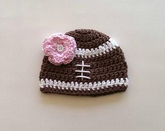 crochet football beanie with flower clip - knit football hat - crochet football hat - football beanie - knit beanie - handmade football hat