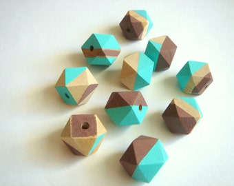 Blue and Brown Geometric Hand Painted  Wood Beads 20mm Big Hole,Do it yourself Geometric Jewelry