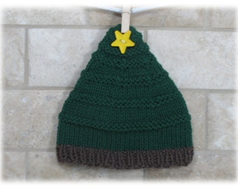 Hat-Newborn Pine Tree Hat--Photo Prop Pine Tree Hat-Green Baby Hat-Hat for Baby-Christmas Tree Hat