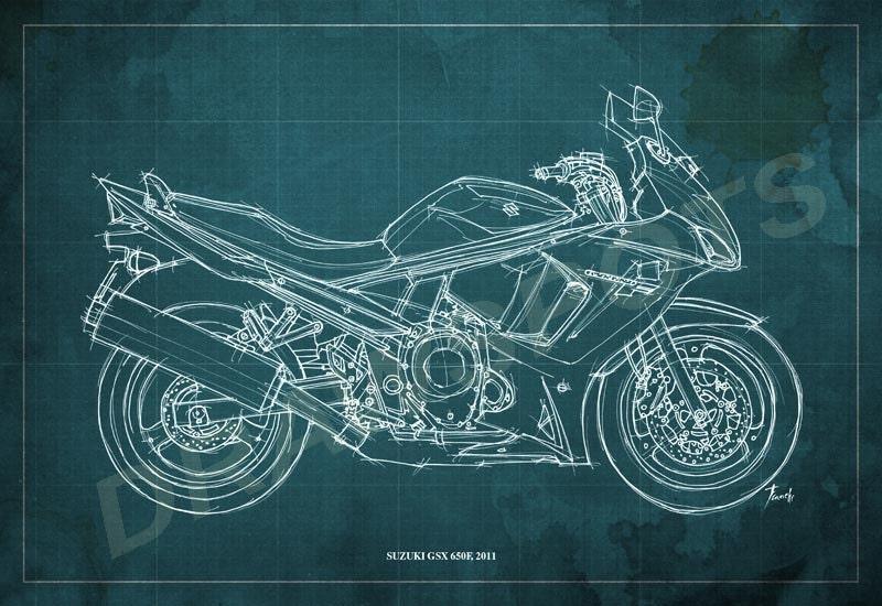 Suzuki Gsx 650f Blueprint Art Print 8x12in And Larger Sizes