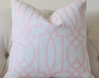 "SALE 25.00 18"" or 20"" - Pink Pillow - Pink and Ash Gray Geometric Trellis Designer Cover - Decorative Throw Pillow  Cover- Light Pink Pillow"