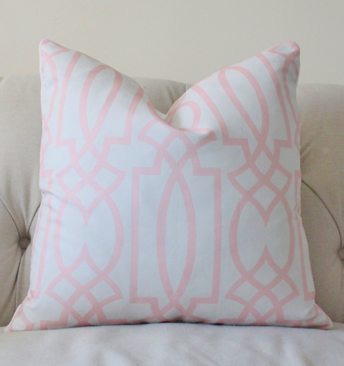 Decorative Pillow Pink : Reserved for Mary Pink Pillow Pink and Ash Gray Geometric