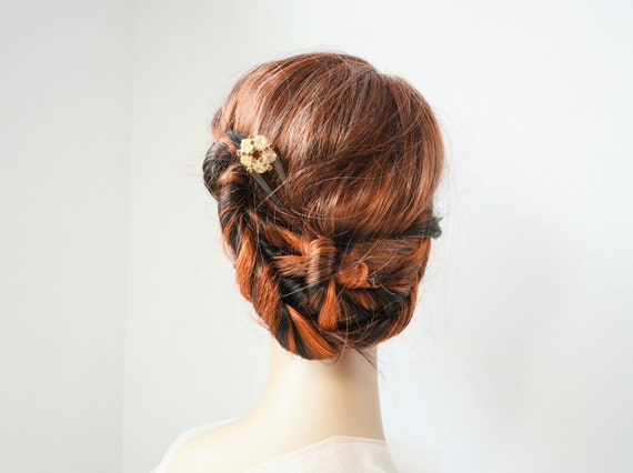 Champagne Chignon Bridal Hairpin - Wedding/Evening/Formal/Hairstick/Maid of Honor/French Twist Hair Accessory