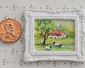 """OOAK Art Original Watercolor Mini Dollhouse Painting Landscape 1.12th """"Sheep Grazing"""" Picture size 1.25x1.00 with Frame size 1.7/8thx1.5/8th"""