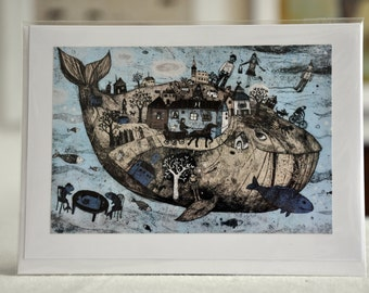 """WHALE / Greeting Card with envelope (5x7"""")"""