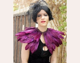 burgundy   feathers shall.Shoulders  Feathers cape . gothic decadence costume ,vintage capelet .