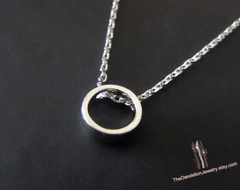 SALE 10% OFF: Cute tiny Circle Necklace Pendant Necklace Jewelry Gift