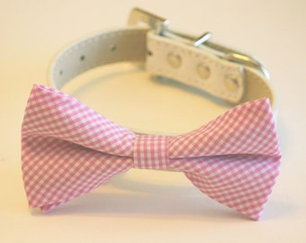 Pink dog Bow tie,Pink Dog Bow Tie with high quality white leather collar, Cute Dog Bow tie,Pink Wedding accessory