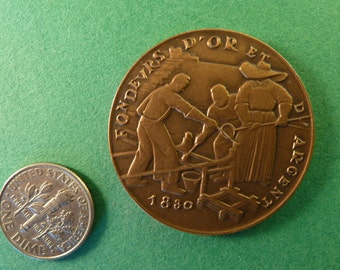 Vintage Art  Medal French bronze   Monnaie de Paris gold and silver smelters 1830   collectible MS1/1