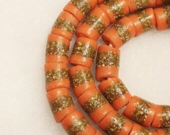 African Orange Beads (10) ,Tribal Beads, Ethnic Beads (A101)