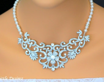 Pearl Rhinestone Bridal Statement Necklace, Vintage Style Wedding Bridal Necklace, Bib Collar Necklace, Rhinestone Wedding Jewelry, ZAHARA