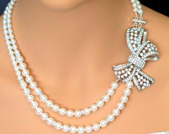 Pearl Rhinestone Bridal Necklace, Vintage Style Bridal Necklace, Swarovski Crystal Pearl Necklace, Rhinestone Pendant Necklace, HOLLY