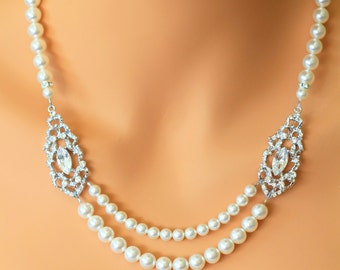 Double Strand Pearl & Crystal Necklace, Rhinestone Pendant Necklace, Bridal Pearl Necklace, Statement Wedding Necklace, ALEXANDRA