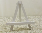 Small White Easel, Hand Painted Wood Tabletop Easel, Miniature Easel for Art Canvas Tiles Wedding Table Number Place Card