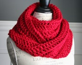 RED Chunky Crocheted Infinity Scarf