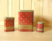 Soviet polka Dot Tin Container Food Container Box Set of 3, Retro Kitchen Home Decor Red White, Norma Estonia