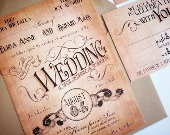 Country wedding invitations, Vintage wedding invitations country {Georgetown design}