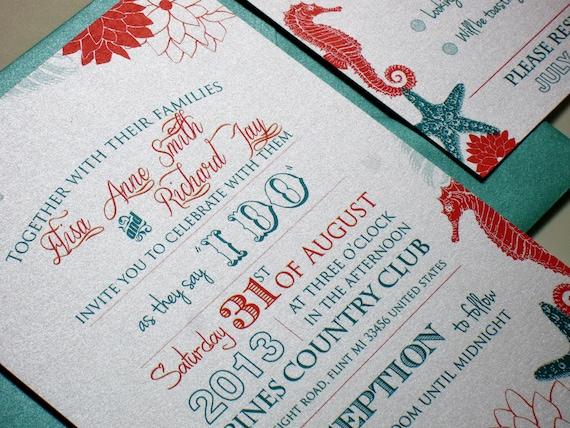 Etsy Beach Wedding Invitations: Beach Wedding Invitations Destination By DesignedWithAmore