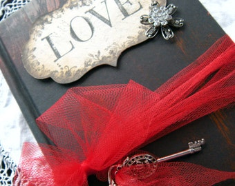 Gothic Wedding Guest Book shabby chic style crimson ruby vintage style