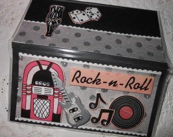 Vintage Rock N Roll Jukebox Guitar Scrapbooked Checkbook cover - Vinyl Holder
