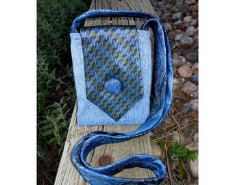 Upcycled Necktie Purse Bohemian Boho Recycled Jeans Bag - Style B