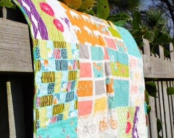 Boys Patchwork Quilt in Blue Green and Orange
