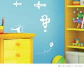 Wall Decals for Baby Nursery Decor - Toys theme - White planes, helicopter & balloon - Great Newborn Gift
