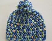 Blue Crochet Hat, Baby Boy, Blue Hat, Blue Beanie, Baby Hat, Baby Beanie, Pom-Pom Hat, Pom-Pom Beanie, Photo Prop, Blue, Yellow, Peach