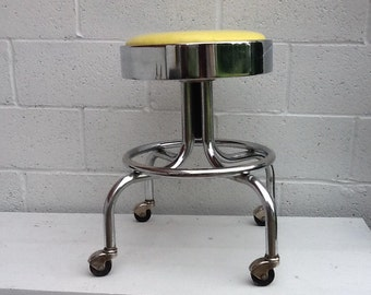 Retro Lemon Lime and Chrome Rolling Adjustable Doctor Office Stool