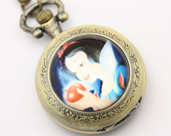 "Necklace Pocket watch ""white snow"""