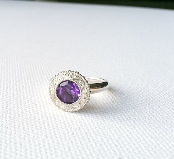 amethyst in sterling silver ring color unique engagement
