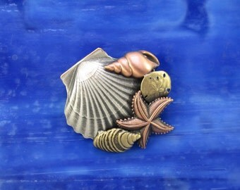 Seashell Brooch- Seashell Jewelry- Seashell Pin- Seashell Jewelry