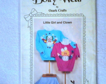 UNCUT Doily Wear Applique Pattern #818 ... Little Girl & Clown