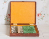 Set of 12 Stainless Steel Cake Forks with Green Handles in original box * Gift idea under 30