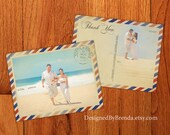 Vintage Air Mail Wedding Thank You Postcards with Photo - Recycled Matte Cardstock - Free Shipping Worldwide - Red & Blue Stripes
