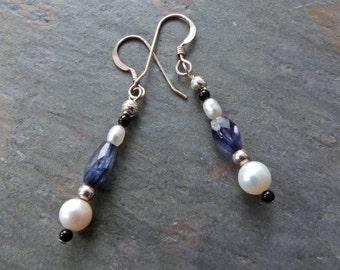 Deep Blue Iolite Dangle Earrings with White Pearl & Black Onyx, Sterling Silver, Handmade