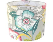 Custom Lamp Shade - Floral Lampshade - Fabric Lampshades - Amagansett by Covington in Sterling- Grey Pink Teal Aqua Green - Made to Order