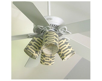 Ceiling Fan Shades Clips to Bulb Annie Selke's Links in Slate Grey Gray Made to Order