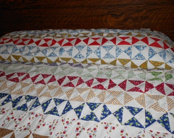 Hand-pieced Vintage Multi-colored Hourglass Row Quilt Top 84x90