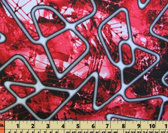 polyester spandex material lycra swimwear stretch fabric - black red gray white abstract design 1/2 Yard - 18 inches long X 55 inches wide