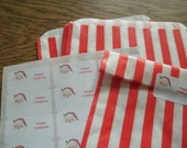10 Red/White Candy Striped Paper Bags with Christmas Sticker Seals NEW