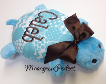 CALEB - Already Personalized Blue & Brown Turtle Stuffed Animal