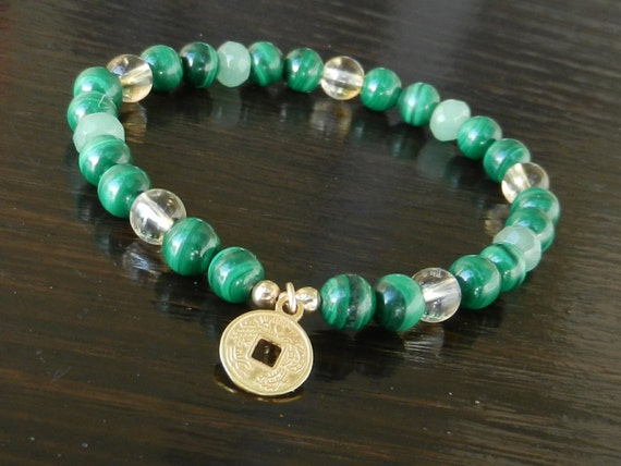 Prosperity Bracelet, Malachite, Citrine & Aventurine with Gold Coin Feng Shui Wealth Charm, Reiki Infused