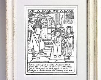 Pat A Cake Bakers Man Nursery Rhyme Black and White Art Print Childrens Bedroom Decor Nursery Old Picture Storybook Book Page 560 b1
